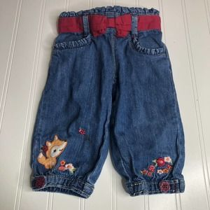 Gymboree Jeans Baby 6-12M Fox Flowers Embroidered